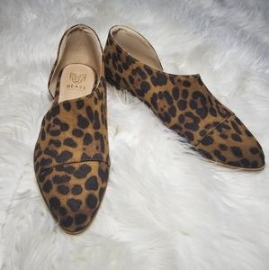 Shoes - Leopard print cutout flat bootie